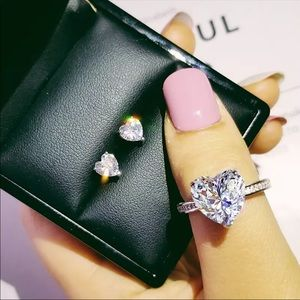 Heart 925 CZ ring and earring set